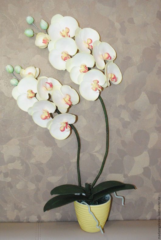 Цветы ручной работы. Ярмарка Мастеров - ручная работа. Купить Орхидея из фоамирана. Ручная работа.. Handmade. Орхидея фаленопсис, проволока