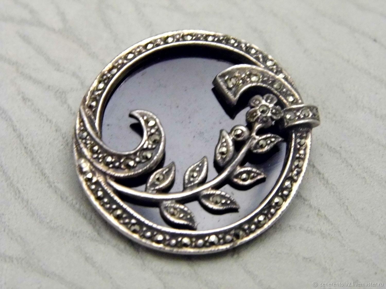 Винтаж: Круглая серебряная брошь, Броши винтажные, Павия,  Фото №1