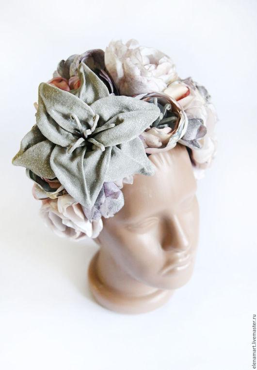 """Диадемы, обручи ручной работы. Ярмарка Мастеров - ручная работа. Купить Цветочный венок """"Лили"""". Handmade. Комбинированный, цветы из ткани"""