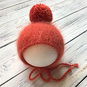 Работы для детей, handmade. Livemaster - original item Beanie with pompom for newborn photo shoot. Handmade.