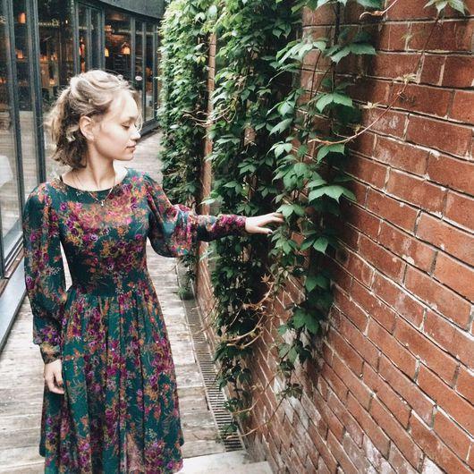 Платья ручной работы. Ярмарка Мастеров - ручная работа. Купить Зеленое платье в цветочек. Handmade. Мода 2016, Платье нарядное