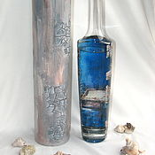 Бутылка Клад на дне моря в тубусе обратный декупаж