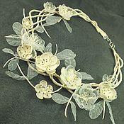 Украшения handmade. Livemaster - original item Winter Wedding Waltz. Necklace with flowers. Handmade.