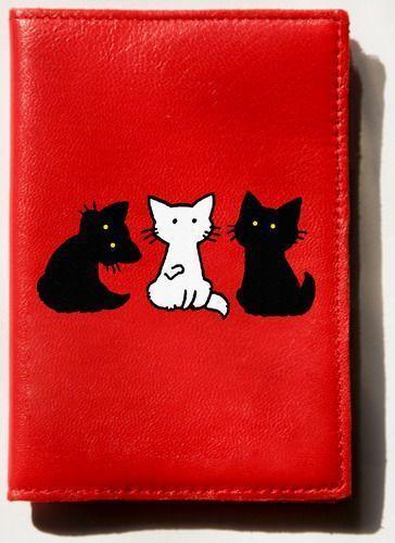 """Обложки ручной работы. Ярмарка Мастеров - ручная работа. Купить Обложка """"Три кота"""". Handmade. Обложка на паспорт, красный, котики"""