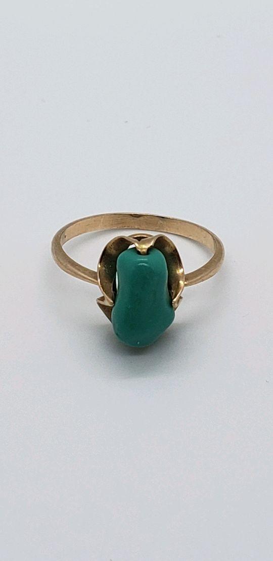 Винтаж: Кольцо с бирюзой в золоте 583 пробы, Кольца винтажные, Дзержинск,  Фото №1