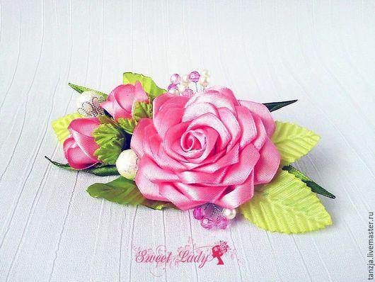 Заколки ручной работы. Ярмарка Мастеров - ручная работа. Купить Заколка из атласных лент Розовый комплимент, заколка с розами. Handmade.