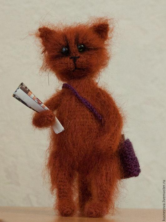 Игрушки животные, ручной работы. Ярмарка Мастеров - ручная работа. Купить Сувенирный котик - почтальон. Handmade. Разноцветный, котики из мохера