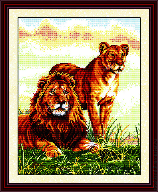 Набор для вышивания `Лев и львица`