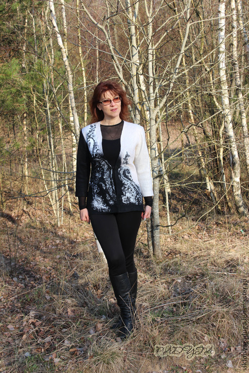 """Пиджаки, жакеты ручной работы. Ярмарка Мастеров - ручная работа. Купить Жакет """"Черное и белое"""" - войлок. Handmade. Чёрно-белый"""