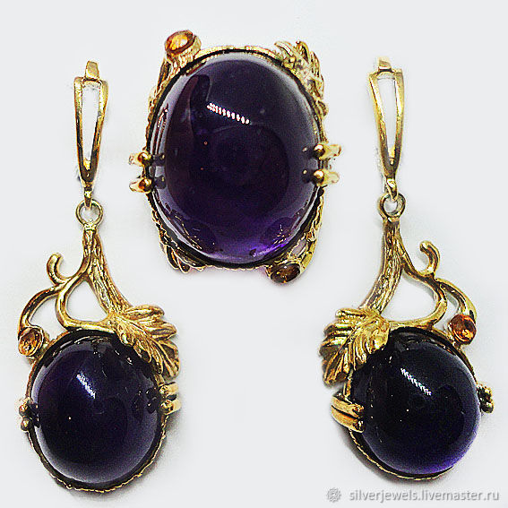 Set in 925 silver with natural amethysts cabochons and sapphire, Jewelry Sets, Moscow,  Фото №1