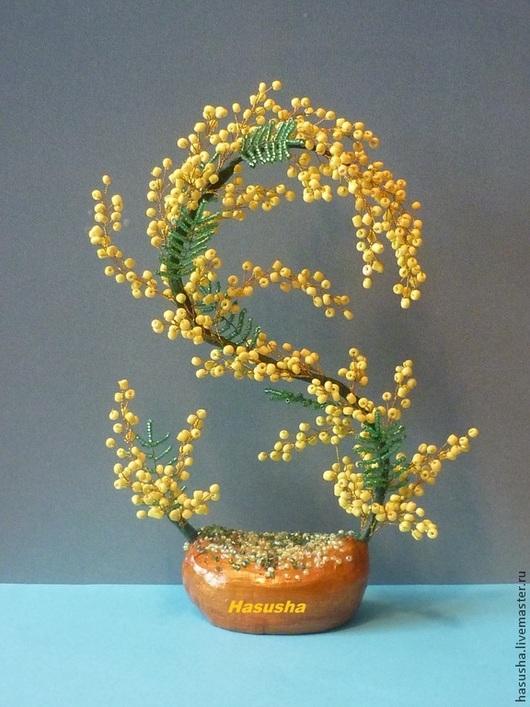 """Интерьерные композиции ручной работы. Ярмарка Мастеров - ручная работа. Купить Мимоза """"Восьмое марта"""". Handmade. Желтый, весенний цветок"""