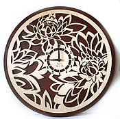 """Для дома и интерьера handmade. Livemaster - original item Настенные часы """"Пионы двухцветные"""". Handmade."""