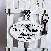 Housekeeper handmade. Livemaster - original item Key-hanger-fense in FRENCH-VINTAGE style, 5 pegs. Handmade.