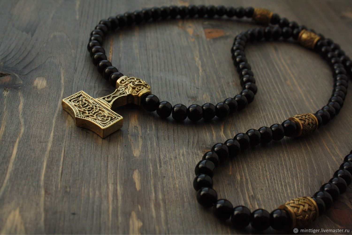 Beads of black agate men's Thor's Hammer, Necklace, Volgograd,  Фото №1