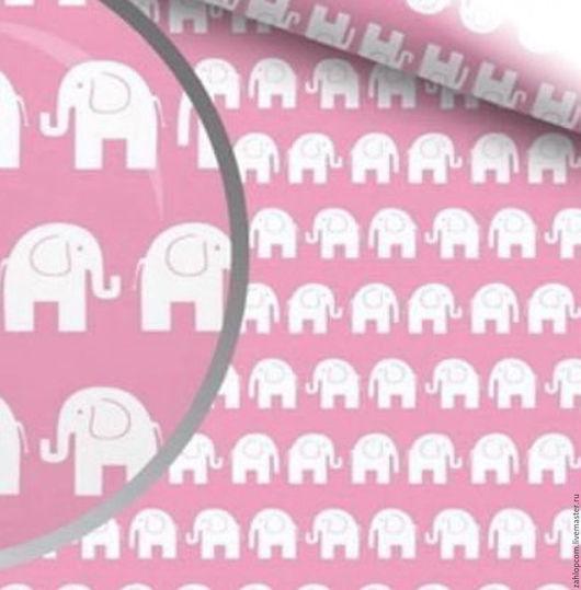 Шитье ручной работы. Ярмарка Мастеров - ручная работа. Купить Хлопок Слоны белые на розовом (Польша). Handmade. Розовый, ткани