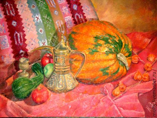 Натюрморт ручной работы. Ярмарка Мастеров - ручная работа. Купить Тыква и чайник. Handmade. Картина, картина в гостиную, Живопись