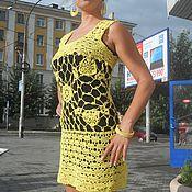 Одежда ручной работы. Ярмарка Мастеров - ручная работа ярко-желтое летнее платье  Мимоза. Handmade.
