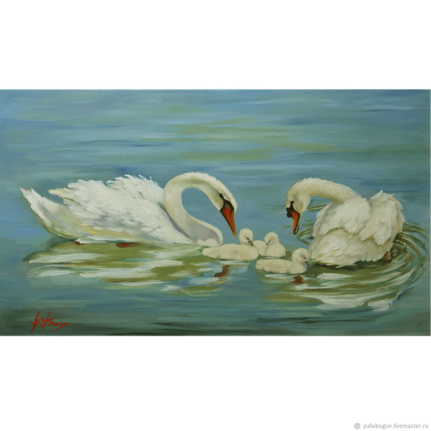 Oil painting 'Swan family', Pictures, Belorechensk,  Фото №1