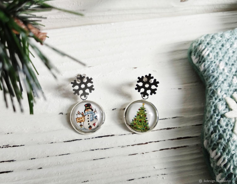 Earrings 'Snowman and Christmas tree', Earrings, Moscow,  Фото №1