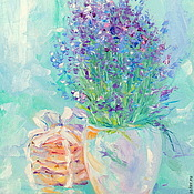 Картины и панно handmade. Livemaster - original item Oil painting on canvas. Lavender mother of pearl. Handmade.