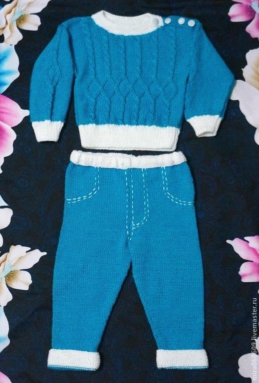 Одежда для мальчиков, ручной работы. Ярмарка Мастеров - ручная работа. Купить Вязаные кофта и штанишки для мальчика. Handmade. Синий, джинсы