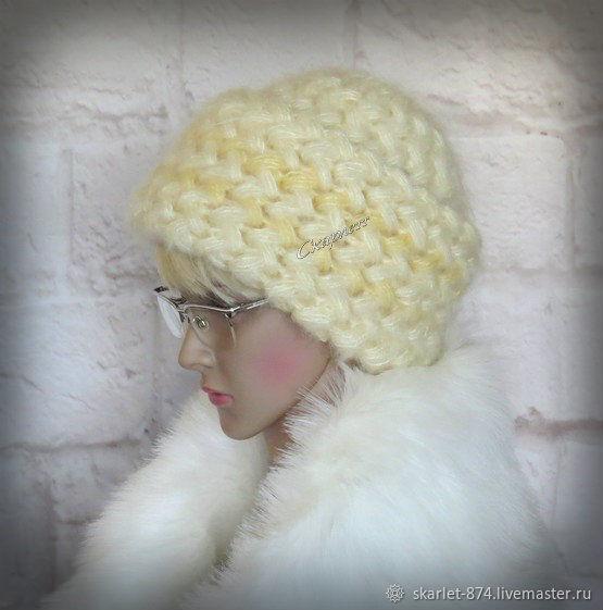 Вязаная женская зимняя шапка с широким отворотом из мохера, Шапки, Зеленоград,  Фото №1