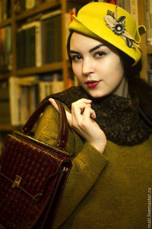 """Шляпы ручной работы. Ярмарка Мастеров - ручная работа. Купить Шляпка """" Одуванчик"""". Handmade. Желтый, велюровая шляпа"""