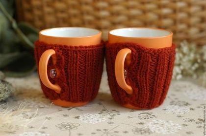 """Кухня ручной работы. Ярмарка Мастеров - ручная работа. Купить Пара кружек в свитере """"Оранжевое чаепитие"""". Handmade. Оранжевый"""