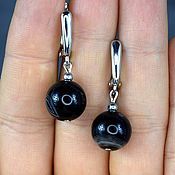 Украшения handmade. Livemaster - original item Earrings natural black agate. Handmade.