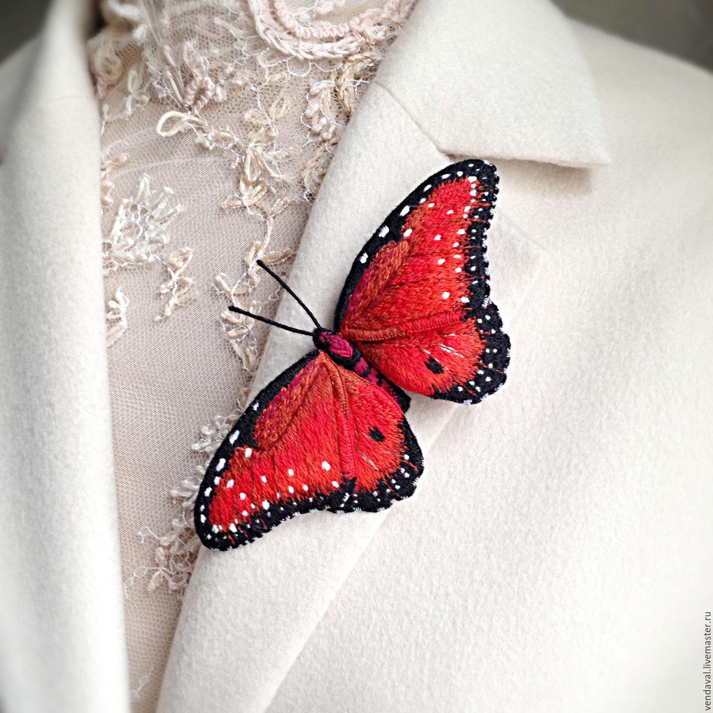 Брошь бабочка вышивка 12