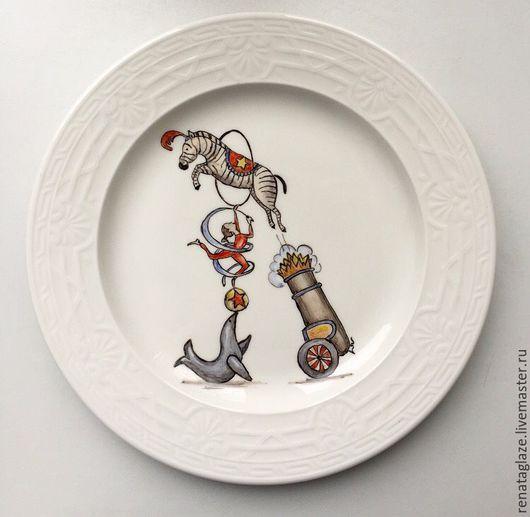 """Тарелки ручной работы. Ярмарка Мастеров - ручная работа. Купить Фарфоровая тарелка """"Цирковая зебра"""". Handmade. Надглазурная роспись, цирк"""