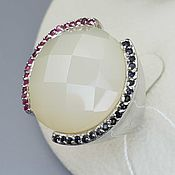 Украшения handmade. Livemaster - original item Silver ring with quartz, sapphires and rubies. Handmade.