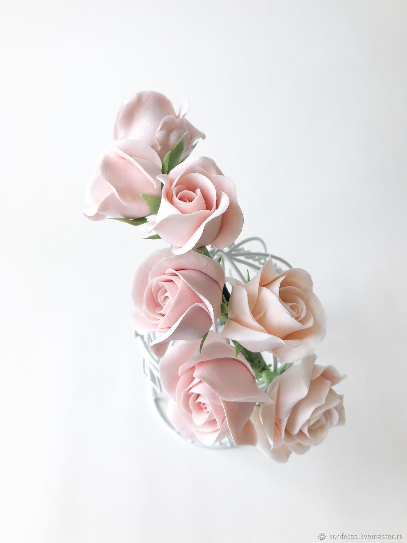 Rim with roses. For wedding, graduation, photo shoot. polymer clay, Bridal Tiara, Voskresensk,  Фото №1