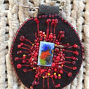 Брошь-булавка ручной работы. Ярмарка Мастеров - ручная работа Броши: Красный цветок. Handmade.