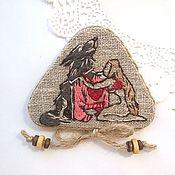 Украшения handmade. Livemaster - original item Embroidered pendant-brooch the Girl and the wolf. Handmade.