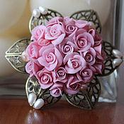Украшения handmade. Livemaster - original item Brooch Pearls and a Rose Brooch polymer clay and natural pearls. Handmade.