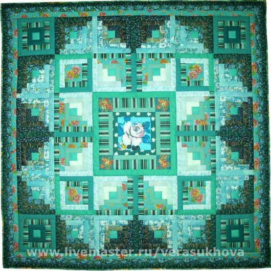 Home Textiles & Carpets handmade. Livemaster - handmade. Buy A blanket 'Green turquoise' 200х200см.Quilt, patchwork, quilting