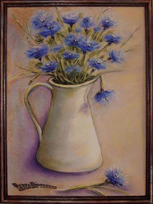 Картины цветов ручной работы. Ярмарка Мастеров - ручная работа. Купить Картина пастелью в раме ЭТЮД в ВАСИЛЬКОВЫХ ТОНАХ. Handmade.
