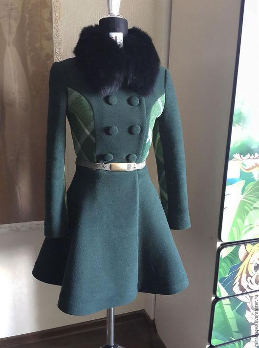 Верхняя одежда ручной работы. Ярмарка Мастеров - ручная работа. Купить Пальто зимнее,утепленное. Handmade. Тёмно-зелёный