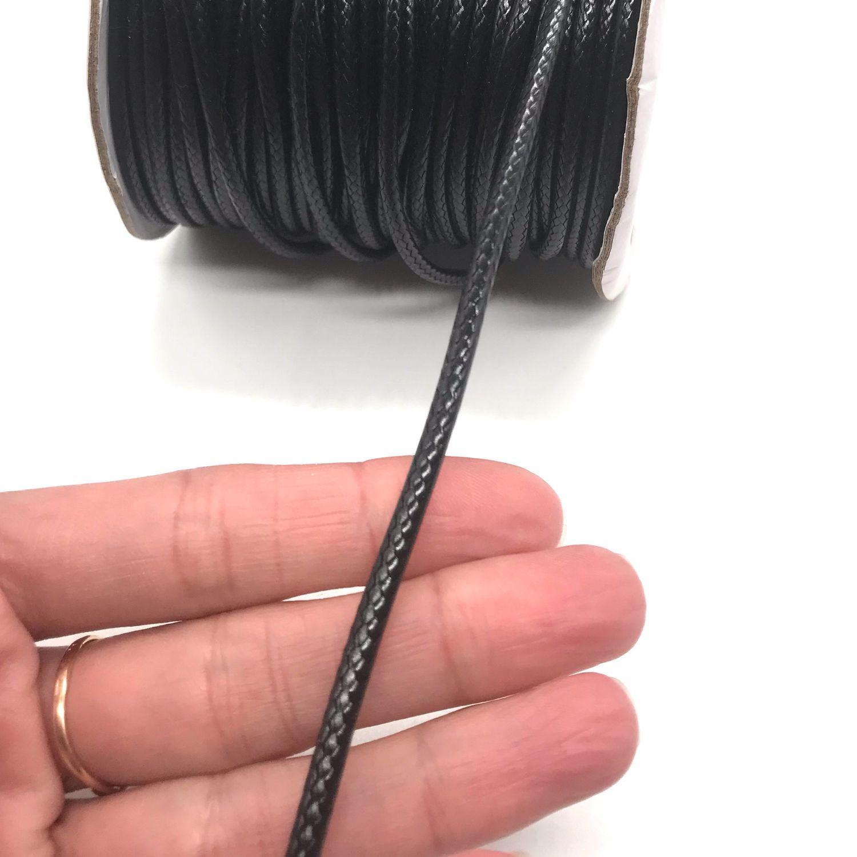 Шнур вощеный 3 мм корейский синтетический Чёрный Коричневый 1 метр, Шнуры, Ломоносов,  Фото №1
