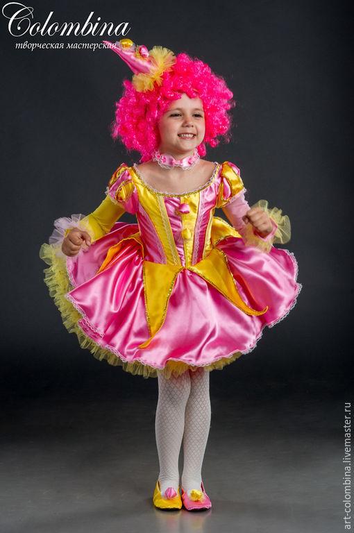 Детские карнавальные костюмы ручной работы. Ярмарка Мастеров - ручная работа. Купить Костюм клоунессы. Handmade. Розовый, атлас