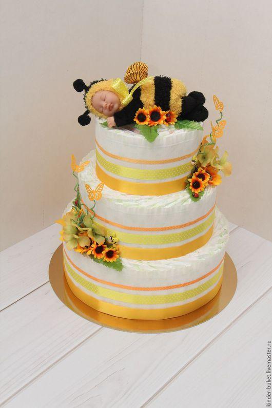 """Подарки для новорожденных, ручной работы. Ярмарка Мастеров - ручная работа. Купить Торт из памперсов """"Пчеленок"""". Handmade. Желтый, тортик, москва"""