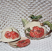 Посуда ручной работы. Ярмарка Мастеров - ручная работа Чайник и чайная пара Маковые керамика. Handmade.