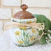 """Для дома и интерьера ручной работы. Ярмарка Мастеров - ручная работа Горшочек """"Цветы и бабочки"""". Handmade."""