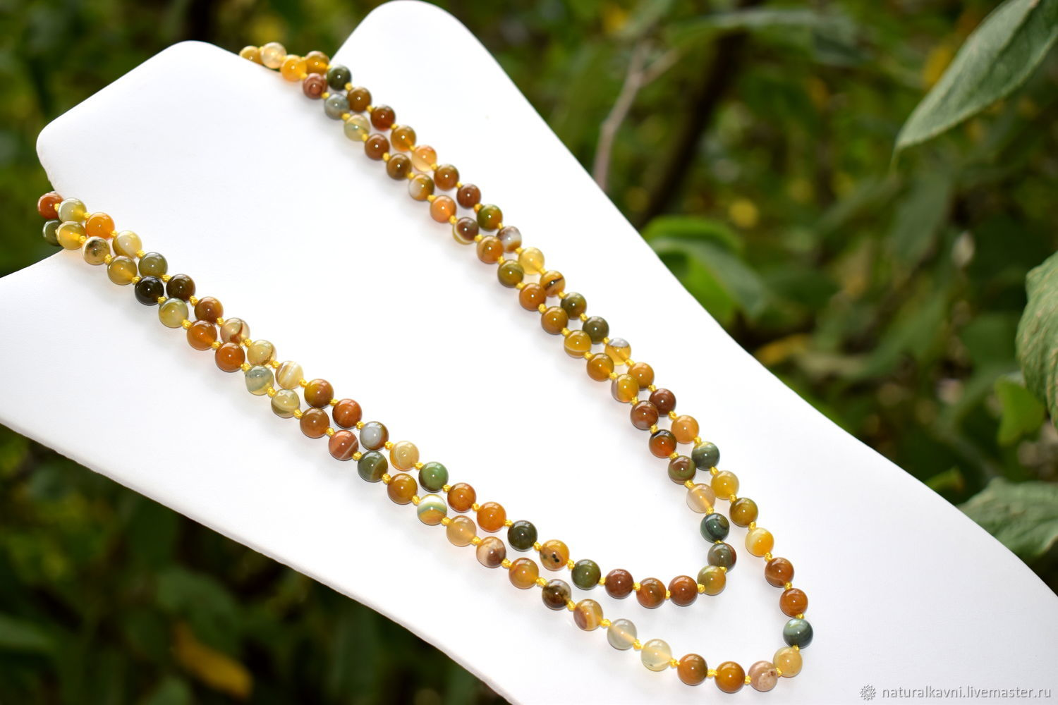 Long beads made of natural yellow agate, Beads2, Moscow,  Фото №1