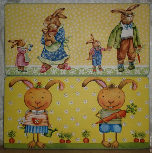 """Кухня ручной работы. Ярмарка Мастеров - ручная работа. Купить """"Весёлые зайцы"""" Разделочная доска панно. Handmade. Комбинированный, зайка"""