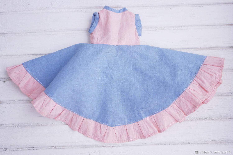 винтажное голубое с розовым платье, Одежда для кукол, Ковров,  Фото №1