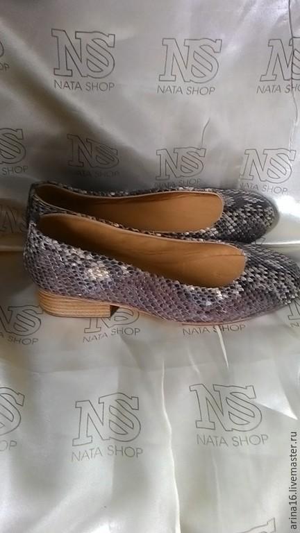 Обувь ручной работы. Ярмарка Мастеров - ручная работа. Купить балетки из питона. Handmade. Разноцветный, туфли, любой цвет