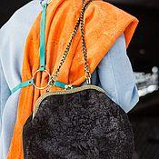 """Классическая сумка ручной работы. Ярмарка Мастеров - ручная работа Сумочка валяная """"черный шелк"""". Handmade."""