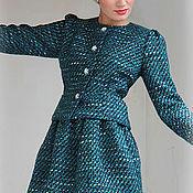Одежда ручной работы. Ярмарка Мастеров - ручная работа костюм из ткани  Chanel.морская волна.. Handmade.